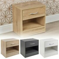 1 Drawer Compact Wooden Bedroom Bedside Cabinet Furniture Nightstand Side Table