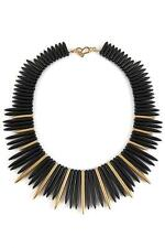 Kenneth Jay Lane Black and Satin Gold Sticks Necklace Designer NEW Spike KJL