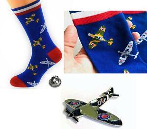 Mens Spitfire Socks, RAF Aeroplane Woven +Metal Spitfire Lapel Pin Badge JKB0222