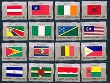 Postfrische Briefmarken der Vereinten Nationen mit Flaggen-und Wappen-Motiv