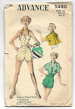 Vtg 1950s Playsuit Halter Romper Sewing Pattern Advance 5480 Janet Leigh Movie