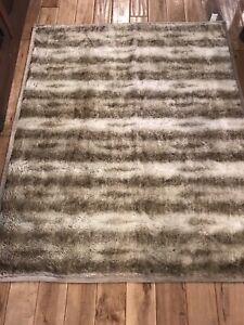 """POTTERY BARN Brown Ombre Faux Fur Throw Blanket Thick Soft & Plush 50"""" x 60"""""""