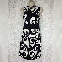 ALYX Womens Cocktail Dress Size 6 Black White Scroll Sleeveless Summer Sundress