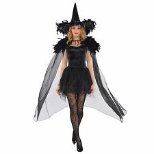 Adults Feather Shoulders Black Witch Cape Sheen Cloak Gothic Swan Halloween UK