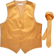 "New Men's Formal Tuxedo Vest Waistcoat_1.5"" skinny Necktie Gold prom wedding"