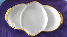 Fire King vintage gold trim hob nail milg glass 3 section relish nut candy dish