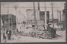 OLD LITHO 1913 DAYTON OHIO FLOOD WRECKED BUILDINGS ELECTRIC CAR AD SIGN POSTCARD