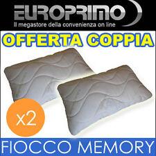 COPPIA 2X CUSCINO GUANCIALE FIOCCO MEMORY FOAM h16cm PER MATERASSO MADE IN ITALY