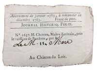 Rare Presse 1783 Château du Loir Abonnement M Chereau Journal Historique