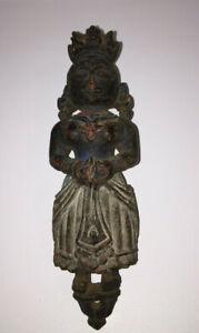 India Antique Marapachi Folk Carving Maritime Figurehead Wood Hanging Sculpture