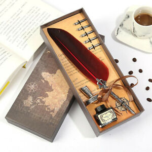 1 Set Retro Writing Pen Vintage Calligraphy Feather Dip Pen Writing Ink OH