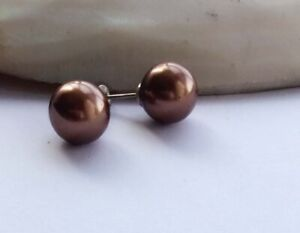 AAA 10MM Brown South Sea Shell Pearl Round Earring 21050614