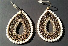 Formal Earrings Dangle Gold Tone Filigree Rhinestones Faux Pearls Wedding Prom