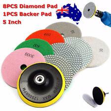 9Pcs/Set 5'' Diamond Polishing Pads Wet/Dry Granite Marble Stone+Backer Pad