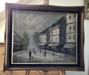 Parisian Street Scene - Oil on Canvas