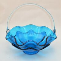 VINTAGE VIKING ART GLASS BLUE BASKET CLEAR HANDLE