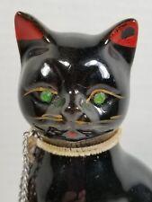 Vintage Redware Mom Cat w.Green Jewel Eyes & Kitten, Good Condition, Little Wear