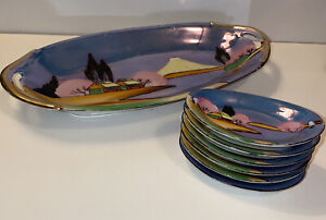 Japanese Hand Painted Serving Tray Lusterware W/6 Mini Dishes