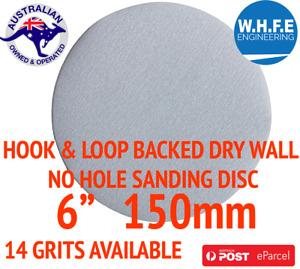 """0RBTIAL SANDING DISC 150mm 6"""" HOOK AND LOOP PAD NO HOLE SANDPAPER DRYWALL METAL"""