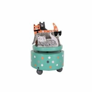 Gisela Graham Cats Wooden Wind Up Music Box - plays what's new pussycat 33369