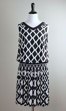 JOSEPH RIBKOFF NWT $192 Blouson Smocked Diamond Printed Tank Dress Size 8