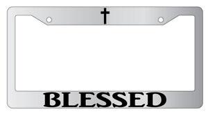 Blessed w/cross Chrome License Plate Frame