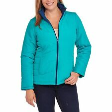 NEW Faded Glory Women's Light Weight Bubble Jacket Coat Zipper Front Teal 4X