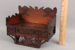 Antique Chip Carved Folk Art Box, Miniature Tramp Art Bench, Box & Draws