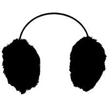 Black Earmuffs Soft feel faux fur Winter Warmer ear muffs Xmas Christmas Present