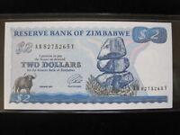 Zimbabwe $2 Dollars 1994 P1 40# Bank Currency Money Banknote