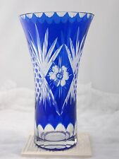 Hand Cut Cobalt Blue Glass Floral Vase