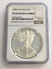 1986-S American Eagle Proof Silver Dollar NGC PF69 Ultra Cameo - 1 oz
