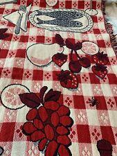 Vintage Picnic Basket Blanket Ants Checkered Acrylic Throw Pie Fruit Wine