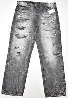 $55 NWT Mens Southpole Jeans Distressed Slim Straight Denim Black 36x30 36 N544