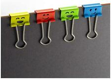 Happy Smiling Face Binder Clips Small Size 42 In Pack Assorted Colors 31090