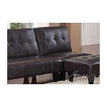 Conrad 3pc Adjustable Sofa Chair Bed Futon Couch Sleeper Ottoman Set Espresso PU