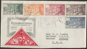 1952 SPAIN STAMP DAY QUEEN ISABELLA FDC #C132-C136 COMPLETE SET, FRESH!