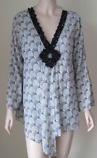 DG2 Diane Gilman Embellished Beaded Blouse Top M Gray Bead Clusters Long Sleeve