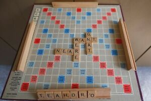 Original Vintage 1950s Scrabble Game with Wooden Tiles