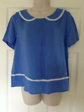 M&S Blue Pull Over Top, Short Sleeve, Peter Pan Collar With Lace Detail, Size 12