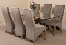 Valencia Large Oak 200cm Modern Glass Dining Set Table and 6 Grey Fabric Chairs