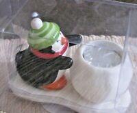 "Hallmark Candle Holder W/ Votive Candle Ceramic Penguin & Snowball 4"" X 6"" New"