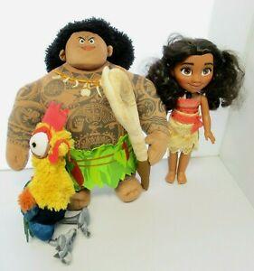 "LOT OF 3 Disney 13"" Talking Moana Doll 15"" Plush Talking Maui Hei Hei Chicken"