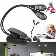 4 LED Portable Book Light Reading Lamp Flexible Clip on Torch Night Travel UK