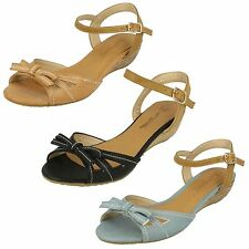 SALE LADIES ANNE MICHELLE LOW WEDGE ANKLE STRAP SANDALS WITH BOW TRIM L3409