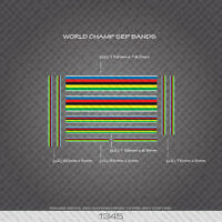 01345 World Champion Stripes Bands - Bicycle Decals Stickers - White Edges