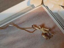 Moket Pendant On Chain Unusual Little Goldtone Vintage