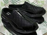 EASY SPIRIT BLACK LEATHER FABRIC MULES SLIDES SLIP ONS SHOES US WOMENS SZ 8.5 M