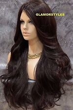 "34"" Long Wavy Layered Brown Full Lace Front Wig Heat Ok Hair Piece #4 NWT"