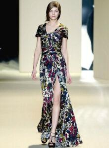 ELIE SAAB Floral Print High Slit Dress Gown 4